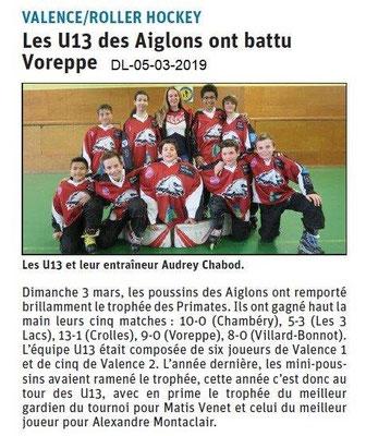 Le Dauphiné Libéré du 05-03-2019- Roller hockey de Valence
