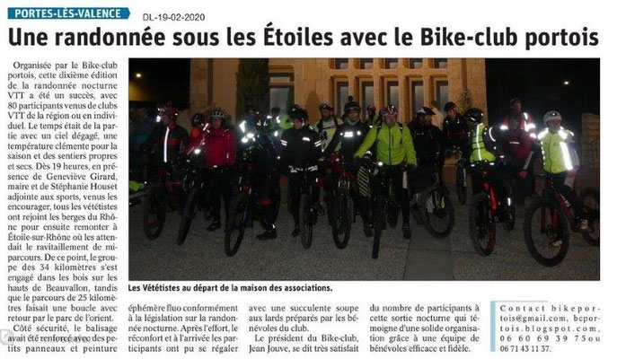 Dauphiné Libéré du 19-02-2020- Randonnée Bike club portois