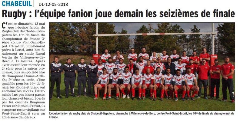 Dauphiné Libéré du 12-05-2018- Rugby Chabeuil