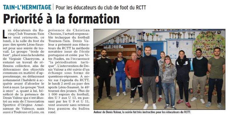 Dauphiné Libéré du 16-03-2018 Ecole de foot- Tain-Tournon
