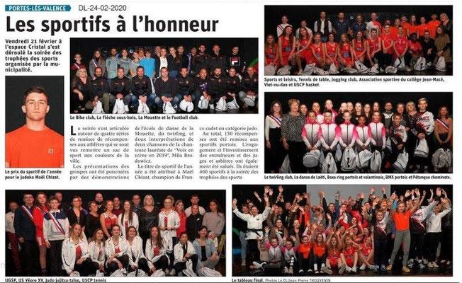 Dauphiné Libéré du 24-02-2020- Trophées des Sports PLV