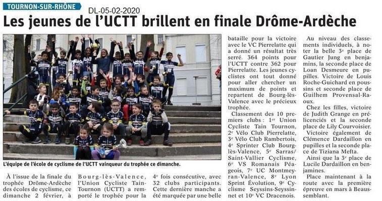 Le Dauphiné Libéré du 05-02-2020- Ecole de cyclisme UTCTT