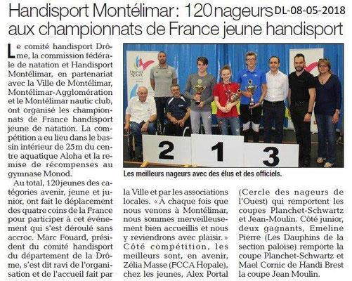Dauphiné Libéré du 08-05-2018-Handisport Natation- Montélimar