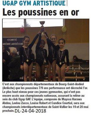 Dauphiné Libéré du 24-04-2018-UGAP GYM-Bourg de Péage