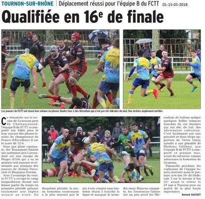 Dauphiné Libéré du 15-05-2018- Football Tournon-sur-Rhône