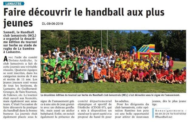 Dauphiné Libéré du 09-06-2019- Découverte du handball à Lamastre