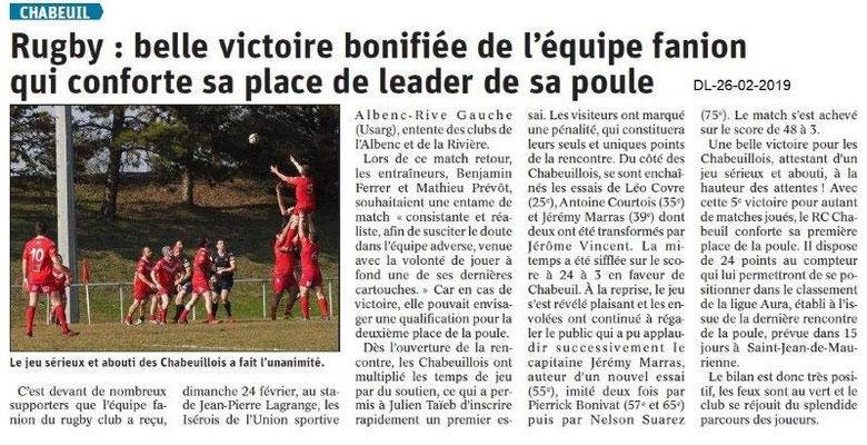 Dauphiné Libéré du 26-02-2019- Rugby de Chabeuil