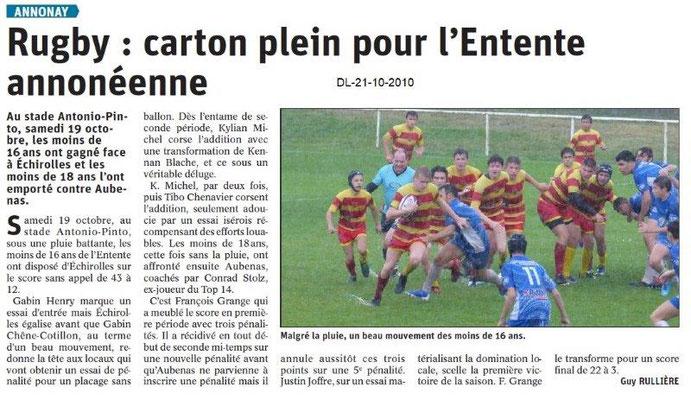 Dauphiné libéré du 21-10-2019- Rugby d'Annonay