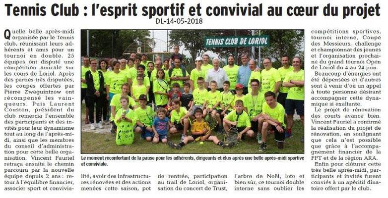 Dauphiné Libéré du 14-05-2018-Convivialité au Tennis Club de Loriol