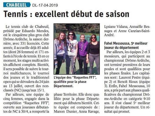 Le Dauphiné Libéré du 17-04-2019- Tennis de Chabeuil