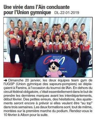 Dauphiné Libéré du 22-01-2019- UGSP de Portes-lès-Valence