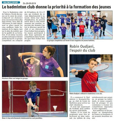 Le Dauphiné libéré du 29-05-2019- Badminton à Valence
