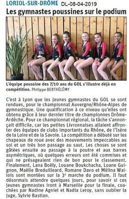 Le Dauphiné Libéré du 08-04-2019- Gym poussine à Loriol