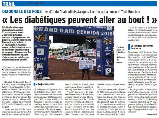 Dauphiné Libéré le 22-11-2018- Diagonale des Fous avec un chabeuillois