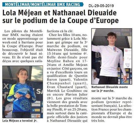Le Dauphiné libéré du 29-05-2019- BMX Racing de Montélimar