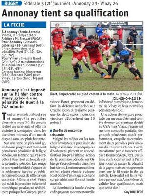 Le Dauphiné Libéré du 08-04-2019- Rugby d'Annonay