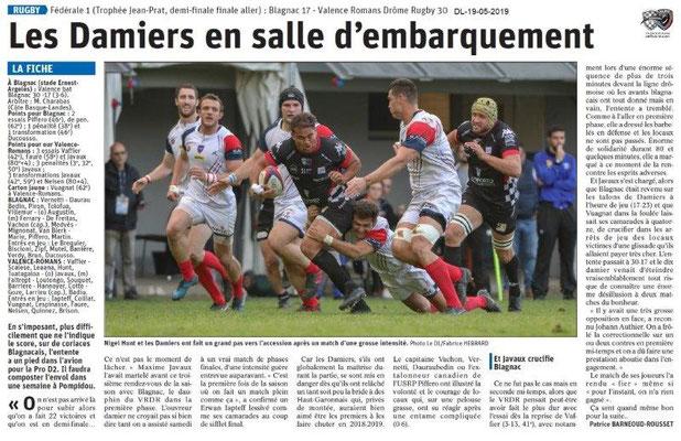 Le Dauphiné Libéré du 19-05-2019- Rugby Valence