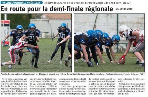 Le Dauphiné Libéré du 09-04-2019- Les Sharks de Valence