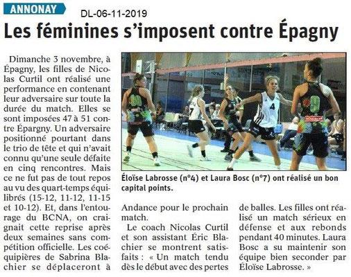 Le Dauphiné Libéré du 06-11-2019-Handballeuses d'Annnay