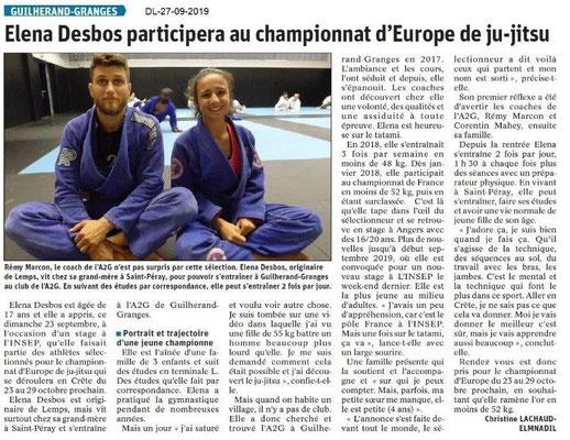 Dauphiné libéré du 27-09-2019- Ju-jitsu de Guilherand-Granges.