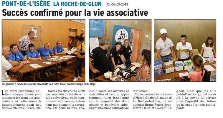 Dauphiné Libéré du 09-09-2018- Forum La Roche de Glun