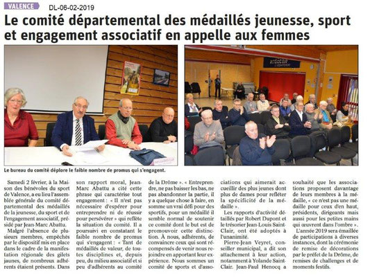 Dauphiné Libéré du 06-02-2019- AG CD26 MJSEA