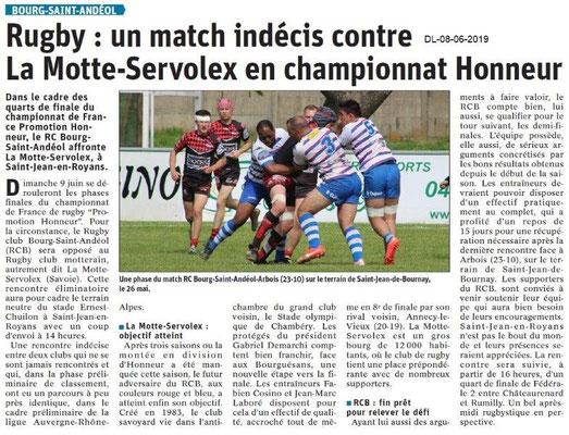 Dauphiné Libéré du 08-06-2019- Rugby de Bourg Saint-Andéol