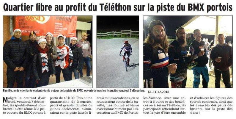 Dauphiné Libéré du 10-12-2018- BMX portois et le Téléthon