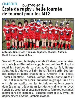 Dauphiné Libéré du 27-03-2019- Ecole de rugby CHABEUIL