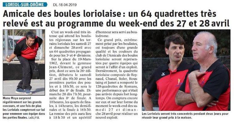 Le Dauphiné Libéré du 18-04-2019- Boules loriolaises