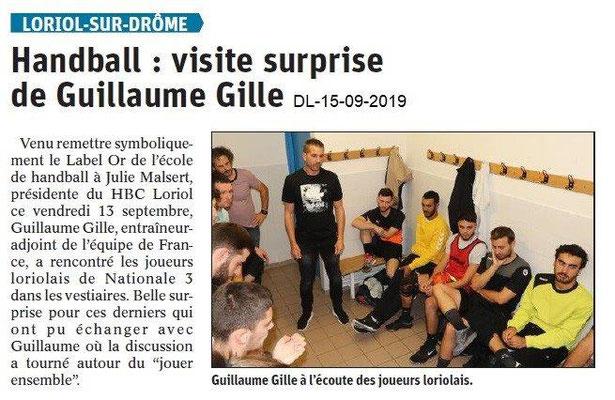 Dauphiné libéré du 15-09-2019- Visite au Handball Loriolais