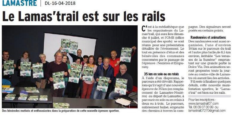 Dauphiné Libéré du 16-04-2018-Le Lams'trail avec OMS de Lamastre
