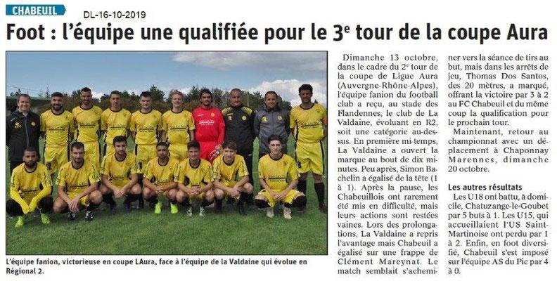 Dauphiné libéré du 16-10-2019- Foot de Chabeuil