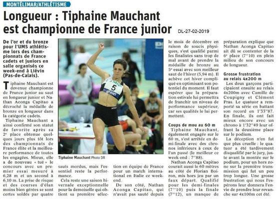 Dauphiné Libéré du 27-02-2019- Athlétisme Montélimar, championne de France junior