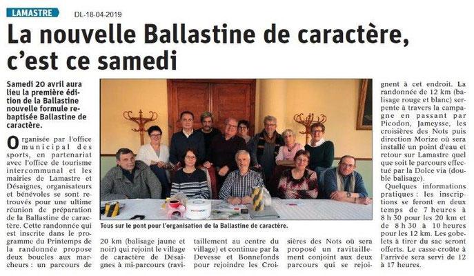 Le Dauphiné Libéré du 18-04-2019- Ballastine à Lamastre