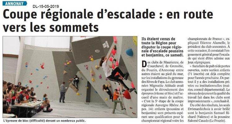 Le Dauphiné Libéré du 15-05-2019- Escalade Annonay