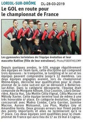 Dauphiné Libéré du 28-03-2019- Les gymnastes du GOL Loriol