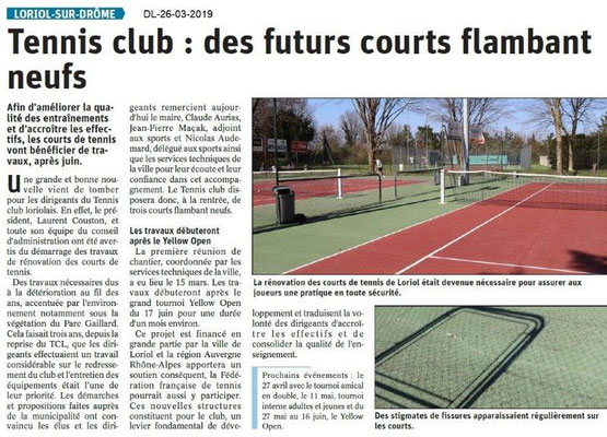Dauphiné Libéré du 26-03-2019- Tennis club Loriol travaux annoncés