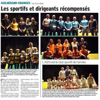 Dauphiné Libéré du 17-11-2018- Les sportifs récompensés de Guilherand-Granges