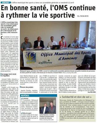 Le Dauphiné Libéré du 16-04-2019- OMS Annonay