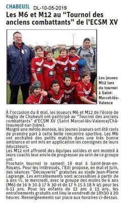 Le Dauphiné Libéré du 10-05-2019- Ecole de rugby de Chabeuil