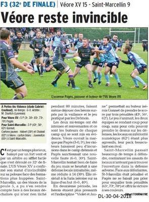 Dauphiné Libéré du 30-04-2018-Rugby Véore XV-Portes-lès-Valence