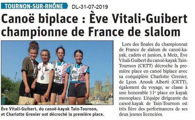 Dauphiné Libéré du 31-07-2019- Canoë kayak de Tain-Tounon