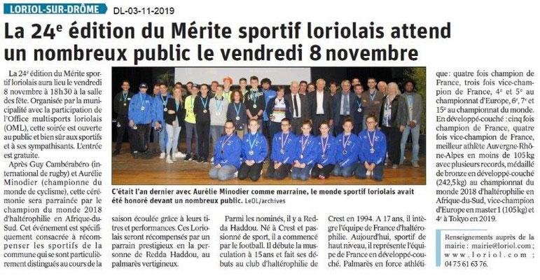 le Dauphiné Libéré du 03-11-2019- Mérite Sportif à Loriol