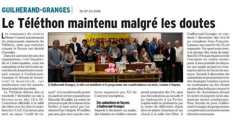 Dauphiné libéré du 07-12-2018- Programme du Téléthon à Guilherand-Granges