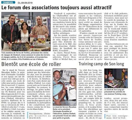 Dauphiné libéré du 08-09-2019- Forum des associations de Chabeuil