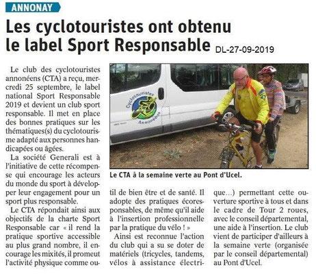Dauphiné libéré du 27-09-2019- Les cyclotouristes d'Annonay