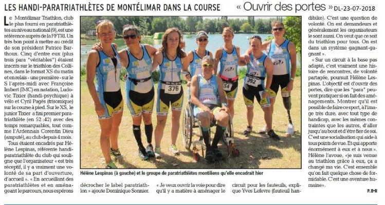 Dauphiné Libéré du 23-07-2018- Montélimar Triathlon