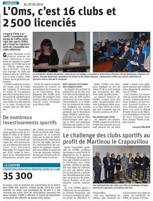 Dauphiné Libéré du 06-02-2019 - AG OMS Chabeuil