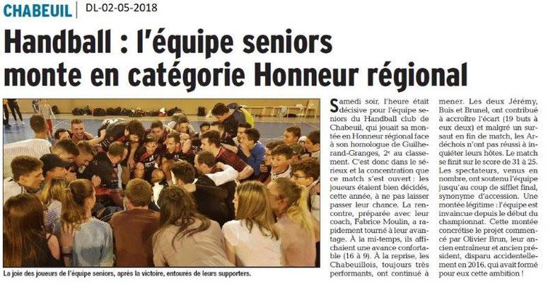 Dauphiné Libéré du 02-05-2018-handball senior-Chabeui